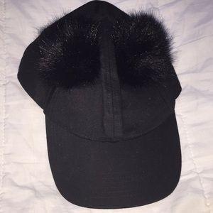 Cute black Pom Pom hat